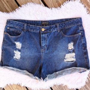 Forever 21 plus denim jeans distressed cut off